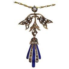 Antique 9 karat Gold Enamel and Diamond Pendant