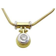Contemporary Diamond Gold Pendant and Chain