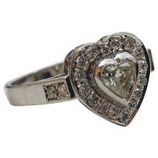 Heart Shape Flower 14 karat White Gold and Diamond Ring