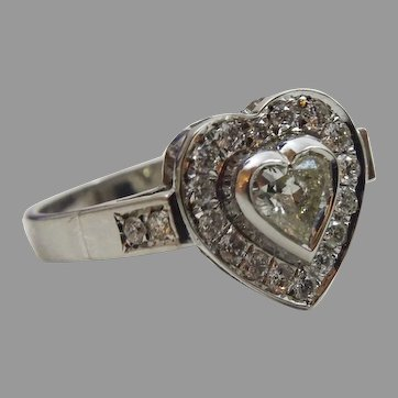 Heart Shape Flower 14 karat White Gold and Diamond Ring