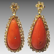 Vintage 18k Gold, Coral and Diamante Earrings