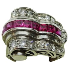 1920's Platinum Cocktail Ring set with Rubies and Diamonds