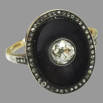 Vintage Onyx , Diamond Gold Ring