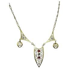 Vintage Moroccan 18 + karat Gold and Rhodolite Necklace