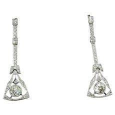Striking Art Deco Platinum Diamond Earrings