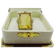 Vintage  Art Noveau 14 karat Gold and Engraved Citrine Ring