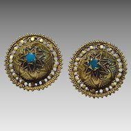 Vintage 18 karat Handmade Gold Turquoise Earrings From Kutch, India