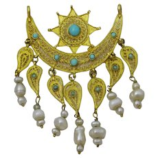 Vintage 20 - 21 karat gold Oriental Crescent Pendant with Pearls and Turquoise