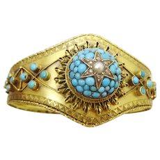 Victorian Etruscan Revival Turquoise , Diamonds and 14 karat Gold Bracelet