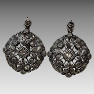 Vintage Portuguese Silver and 19 karat Gold and Diamond Earrings