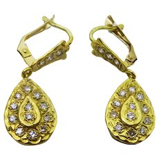 Moroccan 18 karat Gold and Diamond Traditional Earrings