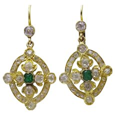 Antique French Diamond and Emerald 18 karat Gold Earrings