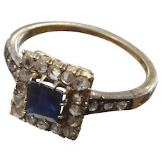 Vintage Faux Sapphire and Diamante  Ring