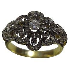 Vintage 18 karat Yellow,White Gold and Diamond Ring