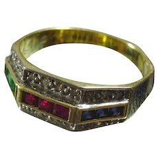 Vintage Diamond, Emerald, Sapphire And Ruby 14 karat Gold Ring.