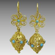 Vintage 9 and 14 karat Gold Persian Earring