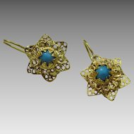 Vintage Persian 18 karat Gold Earrings