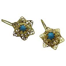 Vintage Persian 18 karat Gold Earrings