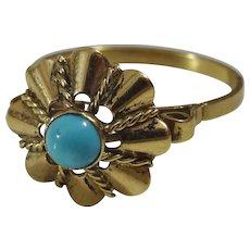 Vintage Handmade 14 karat Turquoise Gold Ring