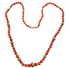 Vintage Coral and 18 karat Gold Bead Necklace