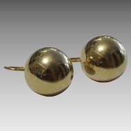 Vintage 14 karat Gold Ball Earrings
