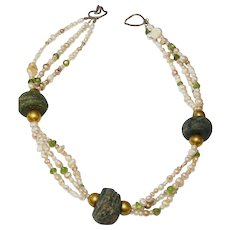 Three Strand  Pearls, Peridot and 18k gold wax beads and Vintage Syrian Ceramic Bead Necklace