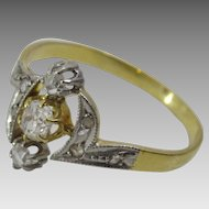 French Art Deco 18 karat White and Yellow Gold Diamond Ring
