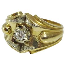 Vintage French 18 karat Gold and Diamond Ring