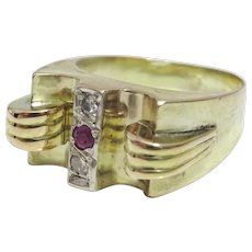 Vintage  14 karat Gold Diamond and Ruby Ring
