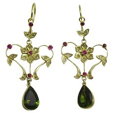 Handmade 18 karat Gold Diamante, Ruby and Tourmaline Earrings