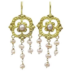 Handmade 18 karat Gold and Pink Pearl Earrings