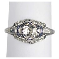 Art Deco Platinum Engagement Ring .65 carat center