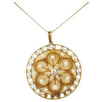 "Late Victorian 14kt Pearl & Diamond Filigree Pendant on 26"" Chain"