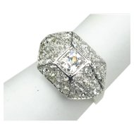 "Art Deco Platinum and Diamond ""Bombe"" Ring"