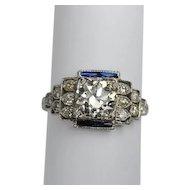 Art Deco Platinum Diamond Engagement Ring 1.25ct