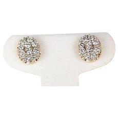Estate 14kt Two Tone Diamond Cluster Stud Earrings 2.00ctw