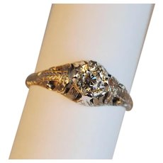 Art Deco Platinum Diamond Engagement Ring .55ct