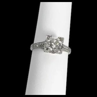 Diamond Platinum Engagement Ring Art Deco Style 1.21 carats