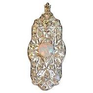 Art Deco Diamond and Opal Pin/Pendant