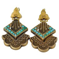 Victorian 14kt Etruscan Turquoise Earrings, Wire post