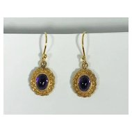 Victorian 14kt Yellow Gold Repousse Amethyst Earrings