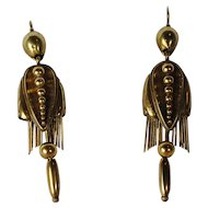 Victorian Large 14kt Foxtail Fringe Earrings