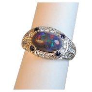 Black Opal and Diamond Ring 1.84 carats