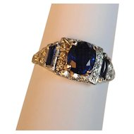 Art Deco 2.10 carat Sapphire and Diamond Platinum Ring