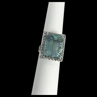 Estate14kt White Gold Aquamarine & Diamond Cocktail Ring 18cts.