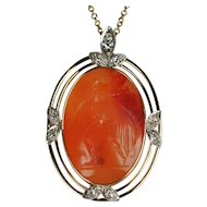 Edwardian Agate and Diamond Pendant
