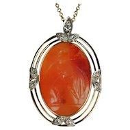 Edwardian Agate and Diamond Pendant