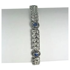 On Sale Art Nouveau Platinum, Diamond and Sapphire Bracelet