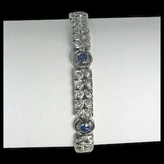 Art Nouveau Platinum, Diamond and Sapphire Bracelet