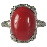 Large Red Coral Ring 14kt White Gold